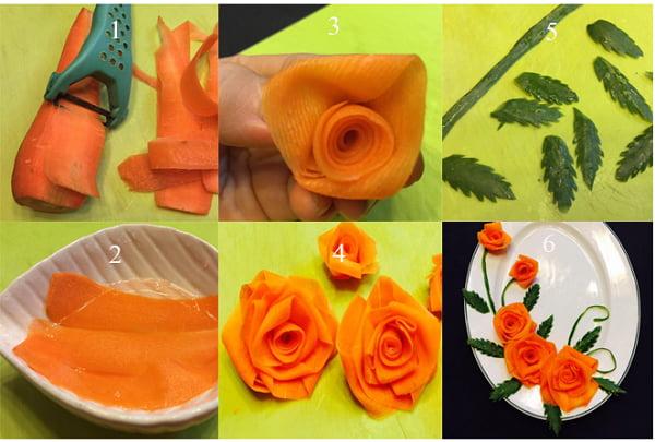 Các bước tiến hành tỉa hoa hồng cà rốt trang trí món ăn hấp dẫn