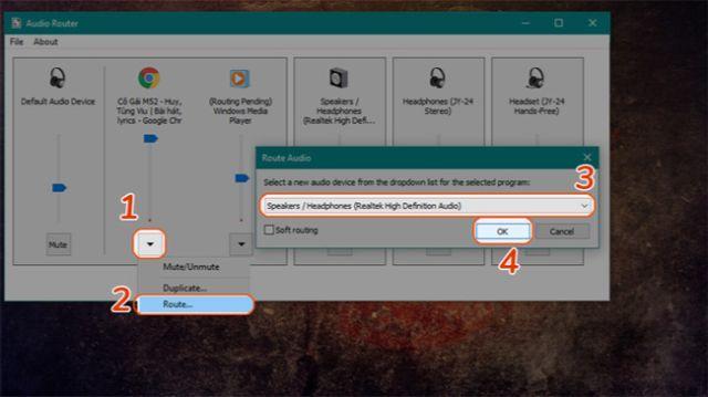 Khởi chạy phần mềm Audio Router