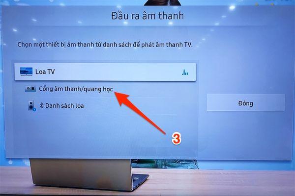 Danh sách loa sẽ xuất hiện trên màn hình tivi samsung