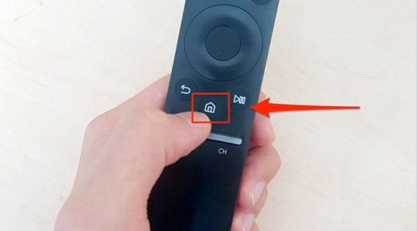 Tìm kiếm biểu tượng ngôi nhà trên điều khiển tivi samsung